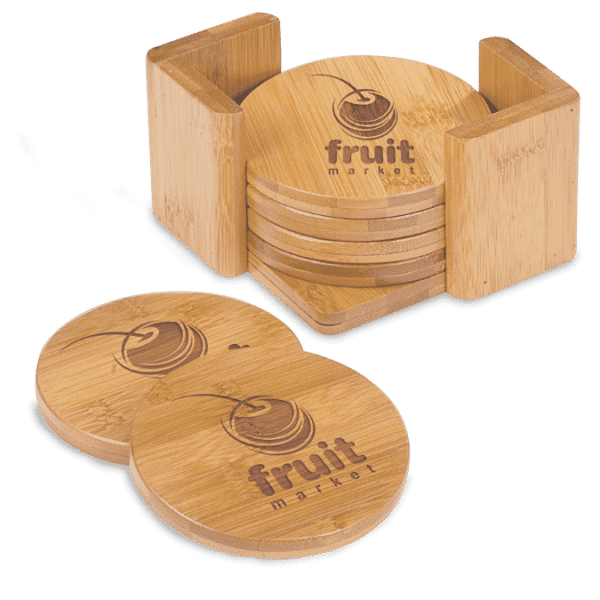 Round Bamboo 6-Coaster Set