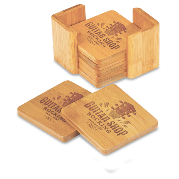 Square Bamboo 6-Coaster Set